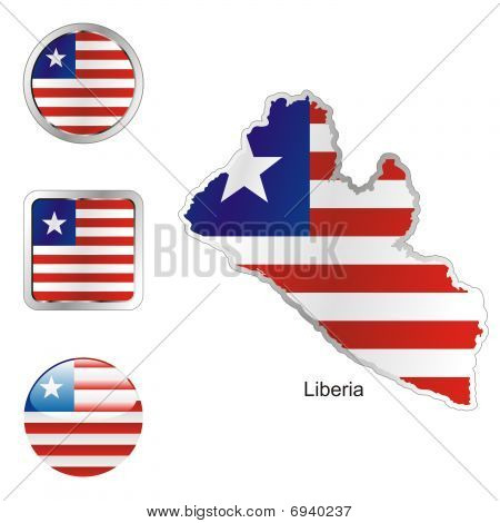 flag of Liberia in map and web buttons shapes