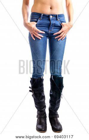 Jeans, Woman Waist Wearing Jeans