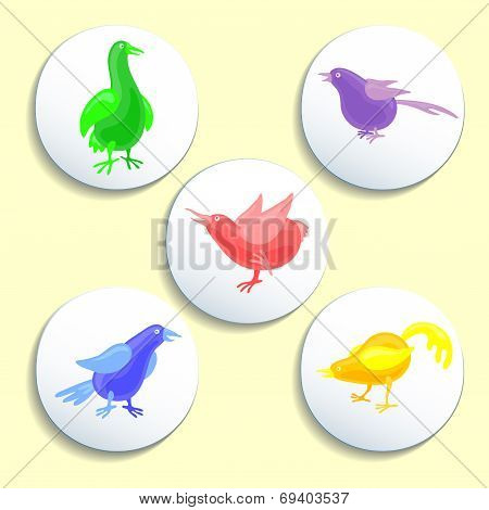 Icon Set With Colorful Birds