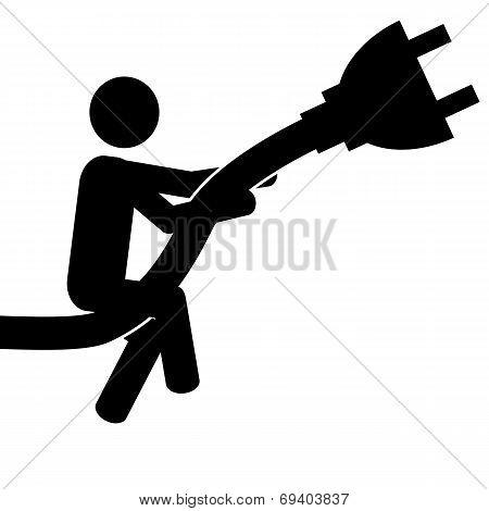 Man on plug
