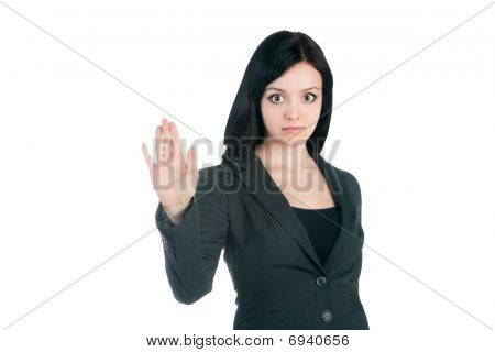 Young Businesswoman On White