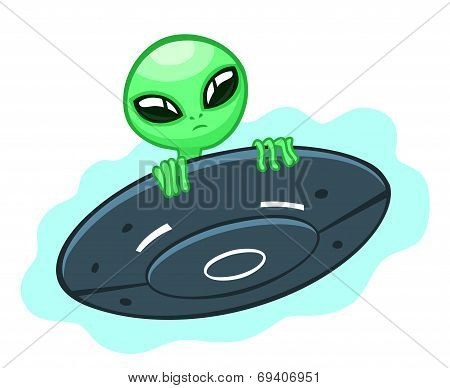 Alien In Flying Saucer