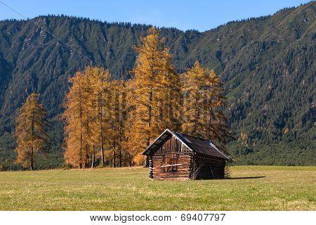 alpine landscape of the Mieming Plateau with alpine hut Austria Tyrol