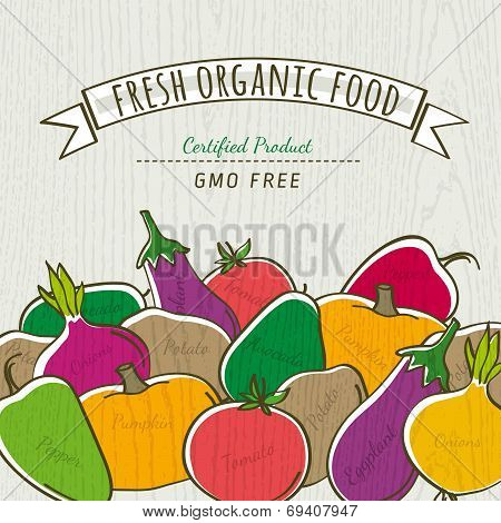 Set Of Organic Vegetable, Vector Illustration