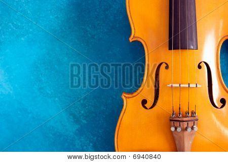 Waist Of Violin Against Blue