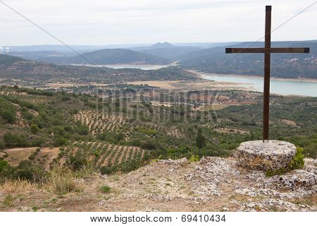 Catholic Cross Over Alcarria Landscape