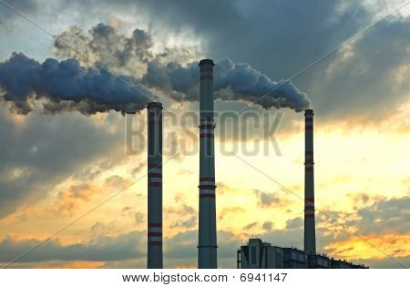 coal power plant under sunset