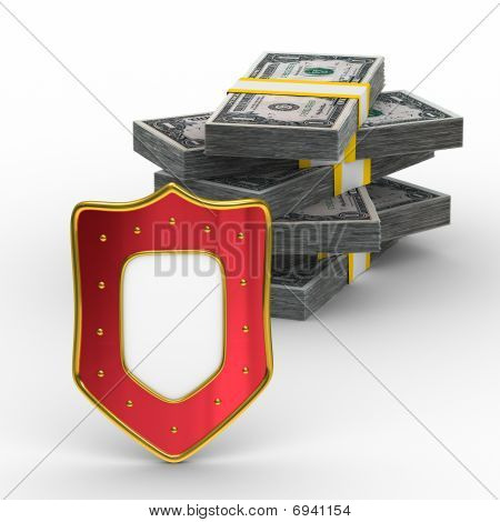 Protection Of Money. Isolated 3D Image On White Background