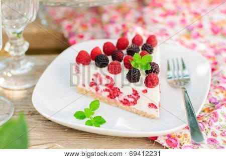 A Piece Of No-bake Raspberry Cheesecake