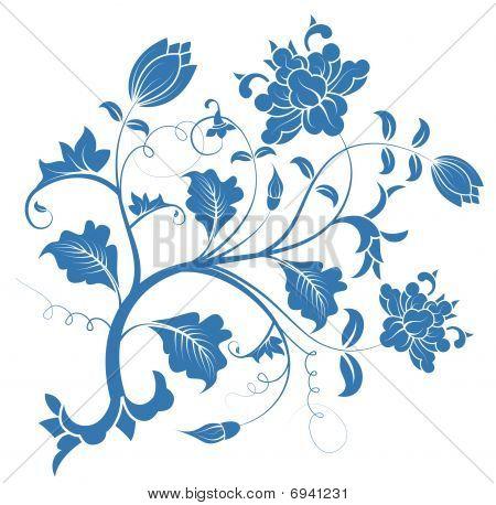 Blue Peony Flower Pattern