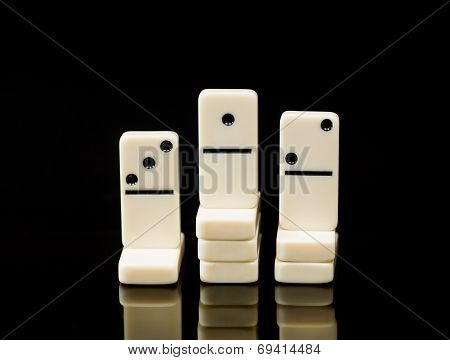 White Dominoes Showing Winner Of Race