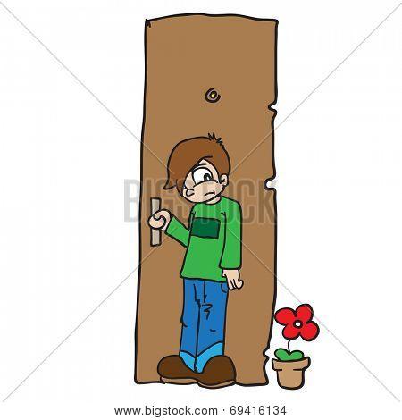 cartoon illustration of a boy closing door