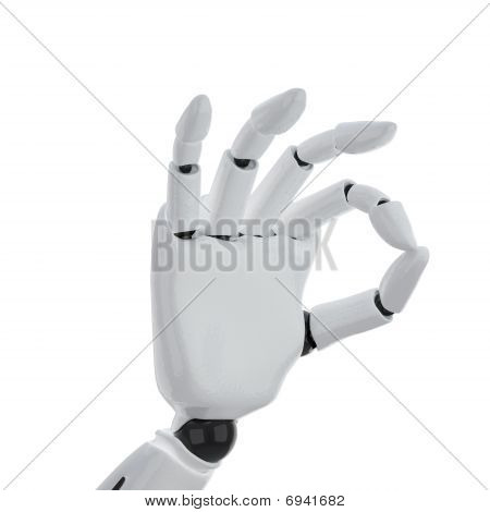 "A 3D Robotic Hand Giving The ""okay"" Sign"
