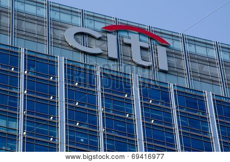Sign at Citigroup Centre, Docklands, London
