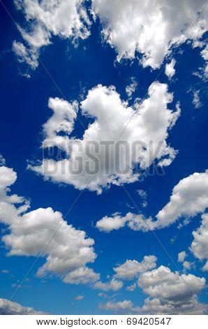 Cumulus cloudscape and a blue sky