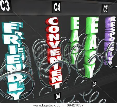Convenient, Friendly, Easy and Responsive 3d words as products you're shopping for in a vending or snack machine