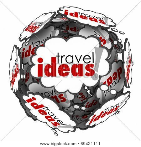 Travel Ideas words in thought clouds for vacation planning or holiday wishes for transportation