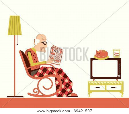 Old Man Sitting And Reading Newspaper
