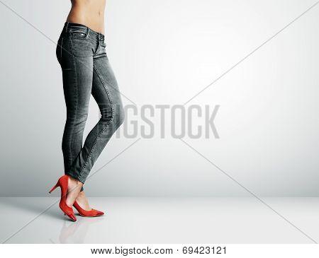 Women's Leg In Jeans