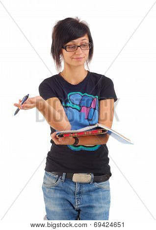 Female Student With Red Folder Ponders, Isolated On White