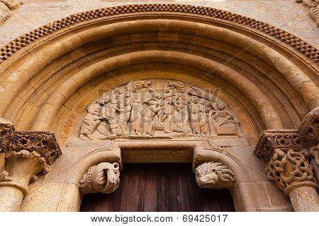 Romanesque Style Door Of San Isidoro Collegiate In Leon