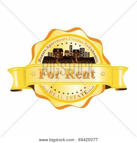 Real Estate - For Rent- rubber yellow / brown label