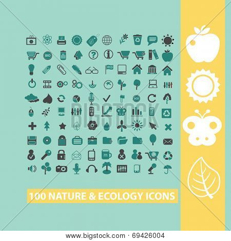 100 nature, ecology, environment black flat icons, signs, symbols set, vector