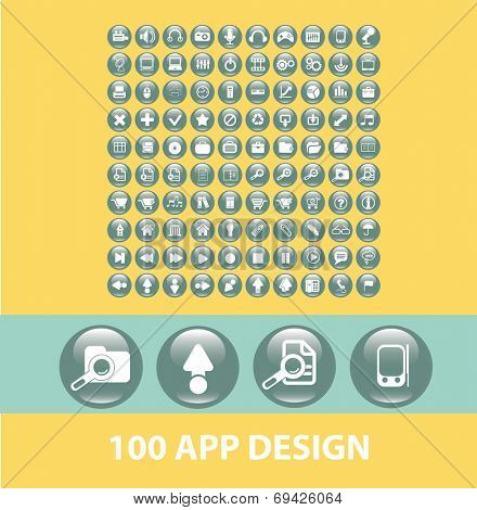 100 app design black flat glossy buttons, icons, signs, symbols set, vector