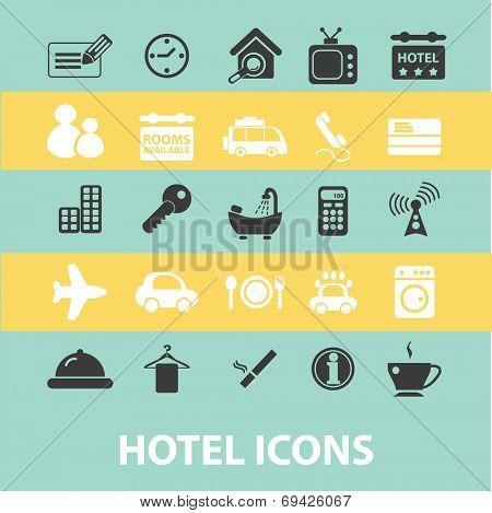 hotel, motel, black flat icons, signs, symbols set, vector