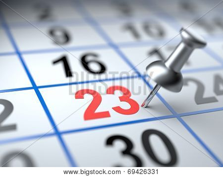 Calendar And Pushpin. Mark On The Calendar At 23
