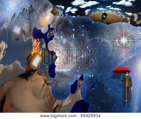 Man with burning mind and floating man Elements of this image furnished by NASA