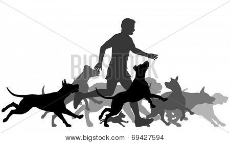Illustrated silhouettes of a man and pack of dogs running together