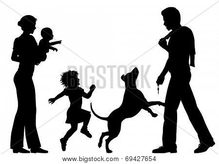 Illustrated silhouettes of a man welcomed home by wife, children and dog