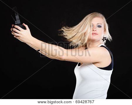 Happy Woman With Headphones In Dancing Motion