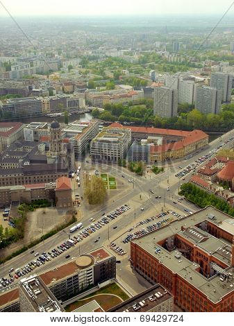 Berlin city panorama from Alexander Platz tower. Editorial image. Date is second of May 2010 .