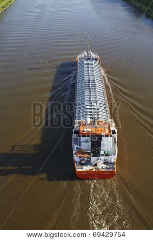Beldorf (germany) - General Cargo Ship At Kiel Canal (retouched)