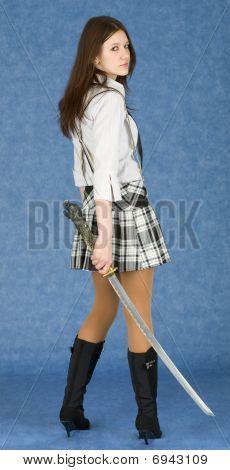 Female Teenager Armed With Katana