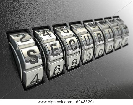 Security password combination concept, Three-dimensional image. 3d