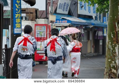 Japanese People walking around the town
