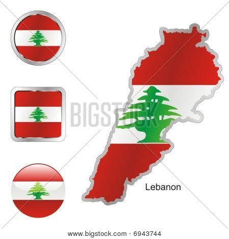 flag of Lebanon in map and internet buttons shape