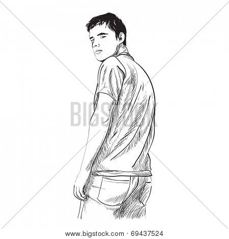 Illustration of man on white background
