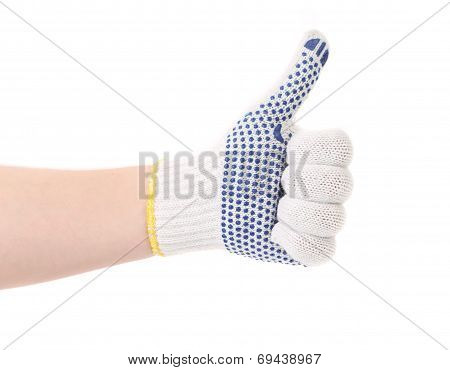 Thin work glove with blue pimple.