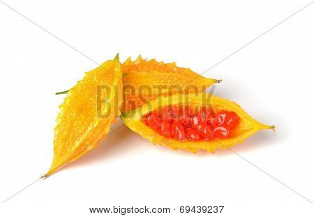 Yellow Bittermelon Isolated On White Background