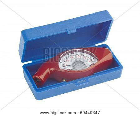 red tyre pressure gauge