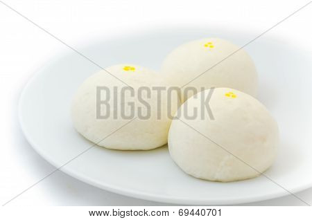 Three Chinese Steamed Buns Isolated On White Background
