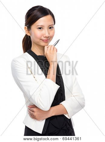 Businesswoman think with pen