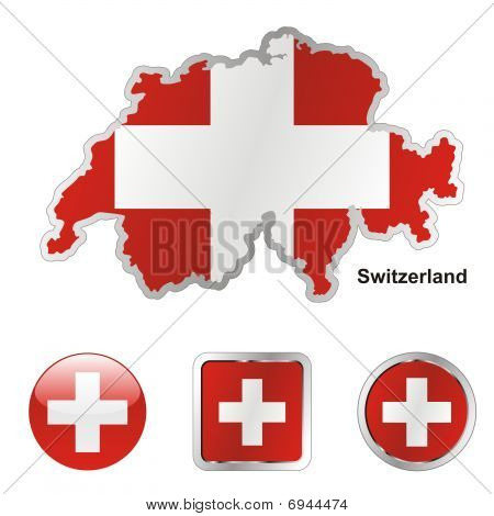 flag of Swizterland in map and web buttons shapes