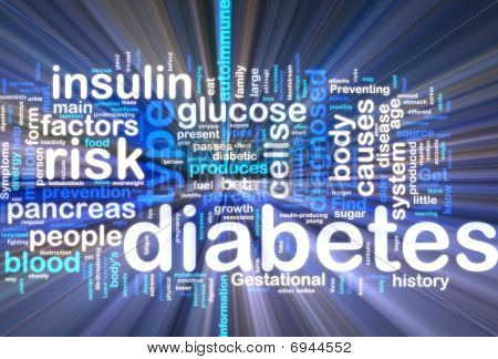 Diabetes Wordcloud que brilla intensamente