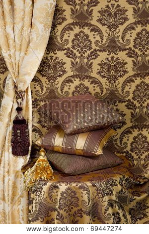 beautiful cushions and curtain
