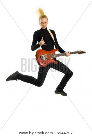 Headbanging Woman Guitarist Jumps
